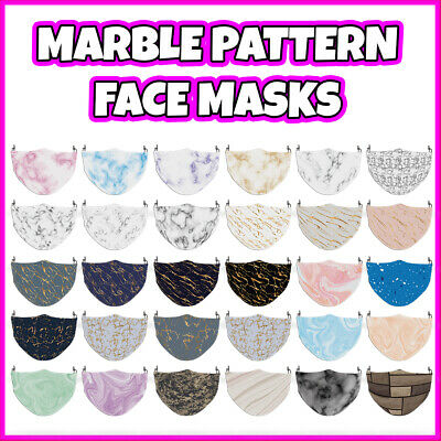 £7.99 • Buy COLOURED Marble Pattern Reusable Polyester Face Mask Covering ADULT MASKS
