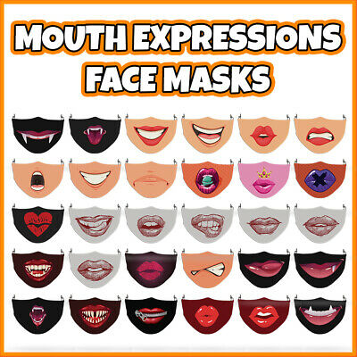 COLOURED Mouth Expressions Reusable Polyester Face Mask Covering ADULT MASKS • 7.99£