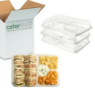 5 X Clear Sandwich & Dip Platters With Lids, Party, Buffet Catering Trays • 7.87£