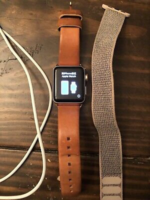 $ CDN244.40 • Buy Apple Watch Series 3 Cellular + GPS 38mm Rose Gold Leather And Nylon Sport Bands