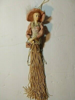 $ CDN26.12 • Buy Popular Creations Victorian Brown Green Tassel Doll Body Porcelain Ornament #5