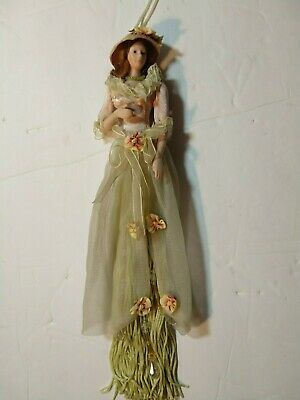 $ CDN26.12 • Buy Popular Creations Victorian Brown Green Tassel Doll Body Porcelain Ornament #6