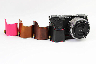 $ CDN18.60 • Buy Half Leather Case Bag+Strap+ Screen Protectors For Sony A6400 A6300 Camera