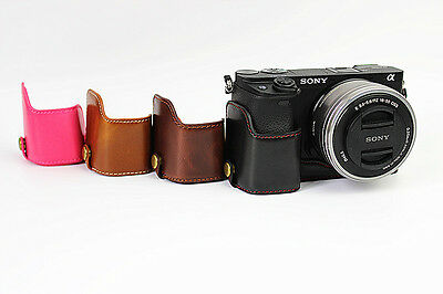 $ CDN17.80 • Buy Half Leather Case Bag+Strap+ Screen Protectors For Sony A6400 A6300 Camera