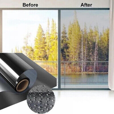 50CM One Way Mirror Window Film Mirrored Privacy Glass Tint Silver Reflective • 0.99£
