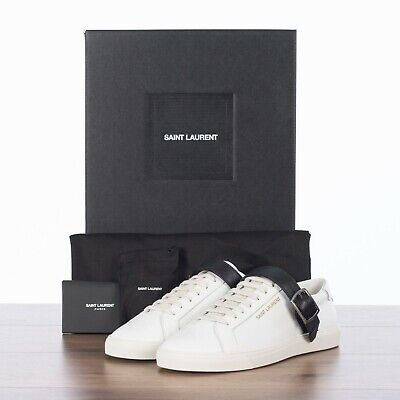 AU507.21 • Buy SAINT LAURENT PARIS 665$ Andy Sneakers With Black Leather Strap In White Leather