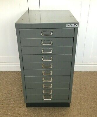 Vintage Bisley Filing Cabinet 10 Drawers Industrial Metal Steel Cupboard Retro • 75£
