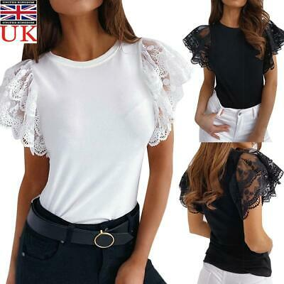 £10.90 • Buy Womens Lace Frill Short Sleeve Tops T-Shirt Ladies Summer Casual Party Blouse UK