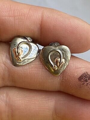 Clogau Mark  Welsh Gold And Sterling Silver Love Heart Gold Rose Earring • 20£