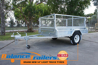 AU2300 • Buy 7x5 Galvanised Fully Welded Box Trailer With 600mm Cage & BRAKE ATM 1400KG