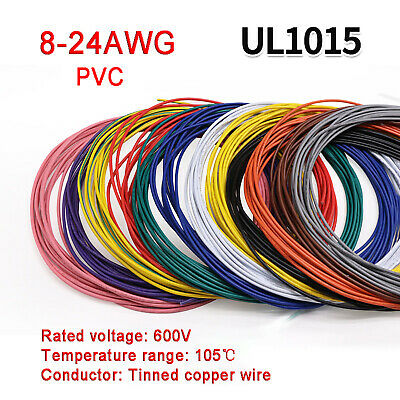 £1.29 • Buy 8AWG To 24AWG PVC Electronic Wire Cable UL1015 Tinned Copper Stranded Wiring