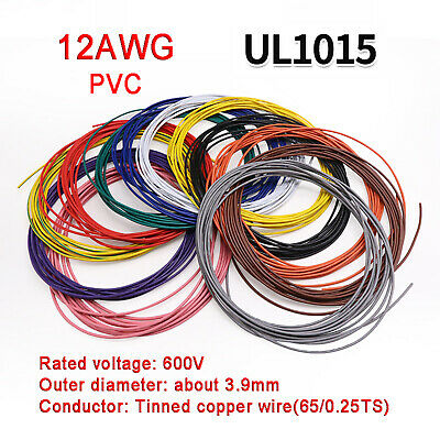 £2.05 • Buy 12AWG PVC Electronic Cable Tinned Copper Stranded Wiring 600V High TEMP 105℃