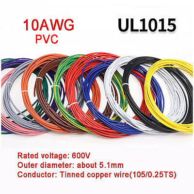 £3.15 • Buy 10AWG PVC Electronic Cable Tinned Copper Stranded Wiring 600V High TEMP 105℃