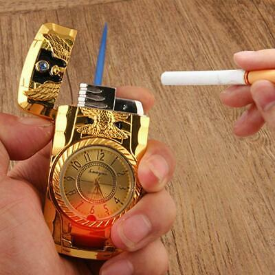 New Windproof Lighter Turbo Single Jet Gas Refillable Cigar Cigarette Gold Clcok • 6.99£