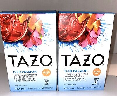 Lot Tazo Iced Passion Herbal Tea Makes 6 32 Ounce Pitchers 6 Bags • 14.16£