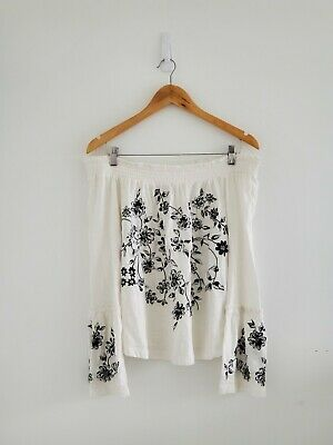 $ CDN45 • Buy Anthropologie Annie Embroidered Top Size Small Off The Shoulder Blouse NWT