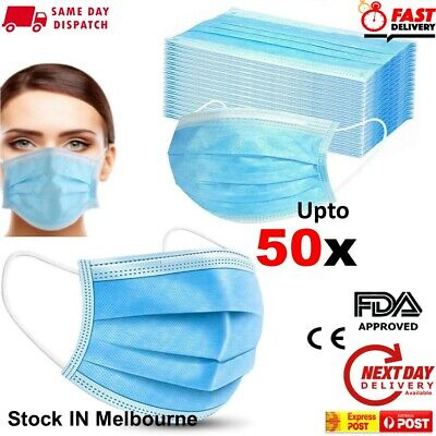 AU11.58 • Buy Surgical Disposable Face Masks Anti Bacterial Masks 3 Layer Filter Cover 1-50Pcs