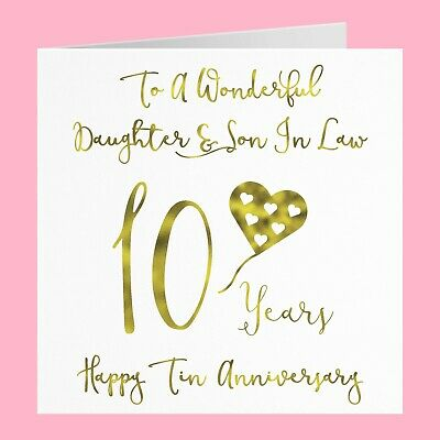 Daughter And Son In Law 10th Tin Anniversary Card - Milano Collection • 3.99£