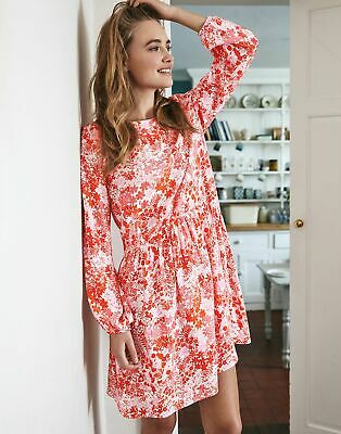 Joules Womens Alexa Curved Front Seam Dress - Pink Floral • 34.95£