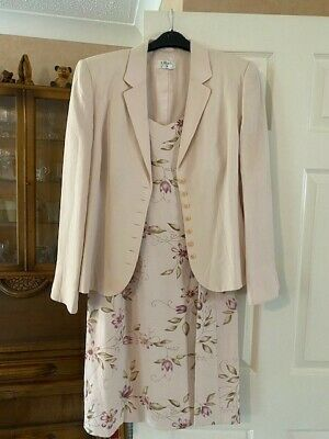 Kaliko Size 14 Dress And Jacket Set Pale Pink Flowers Worn Once Great Condition • 33£