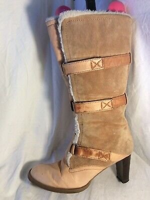 LONDON REBEL Ladies Leather Mid Calf Boots Size 5 • 19.99£