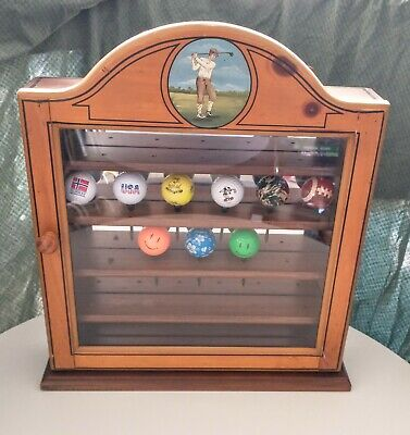 Vintage Wood 20 Golf Ball Display Case Rack Hanging Wall Cabinet Man Cave Office • 72.35£