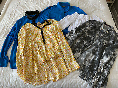 $ CDN25 • Buy LOT Of Five Women's Long Sleeve Blouses Size LARGE ZARA + Anthropologie + More
