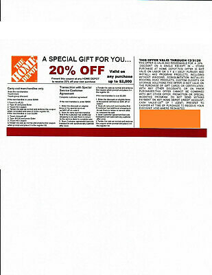 $5 • Buy  (1) 20% OFF HOME DEPOT Competitors Coupon To Use At Lowe's Exp 12/31/20