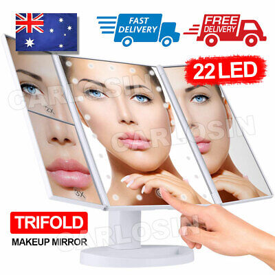 AU25.95 • Buy Makeup Mirror With Light Touch Screen Dimmable Lights Up Vanity Cosmetic Trifold