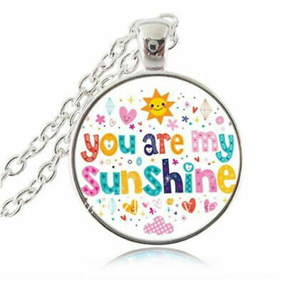 You Are My Sunshine Colourful Glass Cabochon Pendant Necklace Man Woman UK • 4.99£
