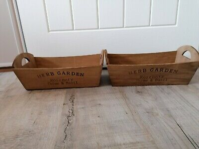 2 Wooden Garden Herb Flower Plant Planter Rustic Window Box Trough Crate Pair • 5.99£