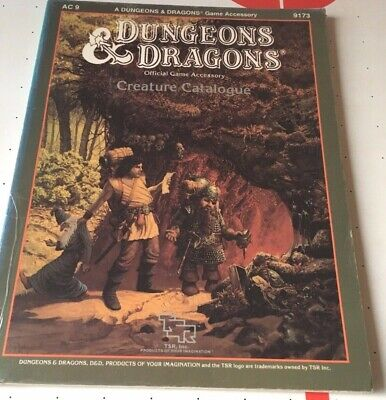 AU36 • Buy Dungeons And Dragons TSR Creature Catalogue AC9 #9173 Dated 1986 94 Pages Good