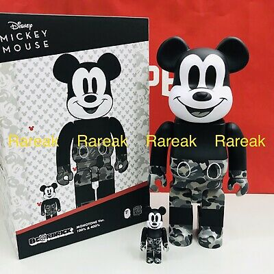 $328.99 • Buy Medicom Be@rbrick 2020 A Bathing Ape Bape Mickey Monotone 400% + 100% Bearbrick