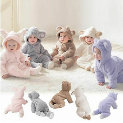Infant Baby Boys Girls Romper Hooded Bear Jumpsuit Bodysuit Fluffy Outfits Tutu • 9.69£