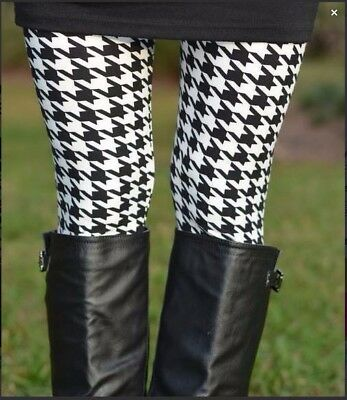 $6.25 • Buy OS ONE SIZE HOUNDSTOOTH BUTTERY SOFT LEGGINGS Fit Size 2-12 NWT