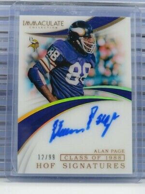 $ CDN1.32 • Buy 2019 Immaculate Alan Page Class Of 1988 HOF Signatures Auto Autograph #/99 E80