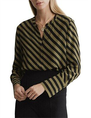 AU24.99 • Buy Witchery Black Khaki Striped Blouse Top 10 New Without Tags