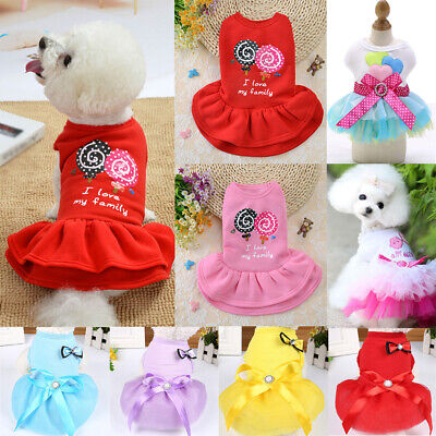 £3.39 • Buy Dog Skirt Pet Dress Cotton Small Dogs Princess Dress Chihuahua Puppy Cat Clothes