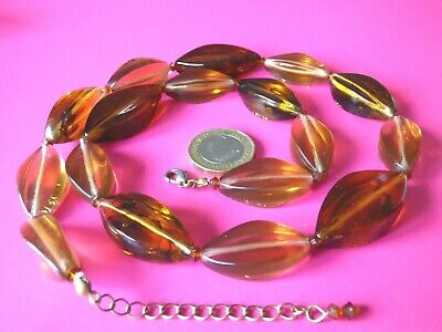 Pj29 -- LOVELY UNUSUAL FAUX AMBER LARGE BEADS NECKLACE  • 6£