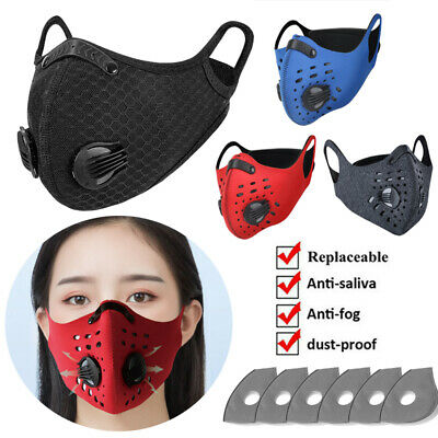 Washable Sports Face Protection Cover Filter Pad With Valves Respirator • 4.10£