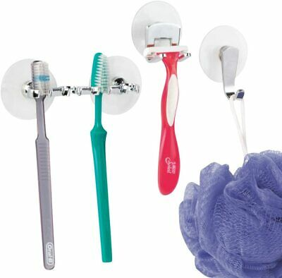 Toothbrush Holder With Suction Cups Plastic Toothbrush Stand Organiser For 4 • 9.99£