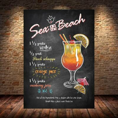 Sex On The Beach COCKTAIL RECIPE METAL SIGN PLAQUE Bar Cafe Beer Garden Man Cave • 4.98£