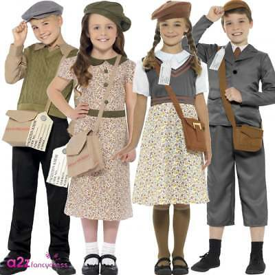 Child Wartime Evacuee Boy Girl 40's School Book Day Fancy Dress Costume Outfit • 14.95£