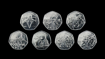 Isle Of Man 50p VE Day Victory 7 Coin Letter Set Choose Your Coin Fifty Pence • 4.99£
