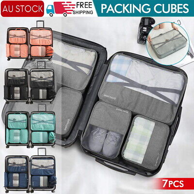 AU7.50 • Buy 1-7x Packing Cubes Travel Pouches Luggage Organiser Clothes Suitcase Storage Bag