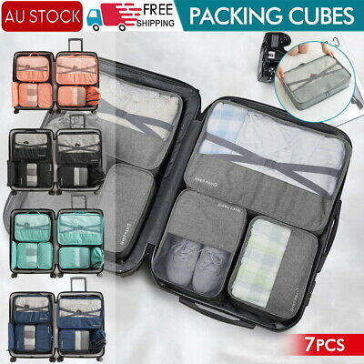 AU7.89 • Buy 1-7x Packing Cubes Travel Pouches Luggage Organiser Clothes Suitcase Storage Bag