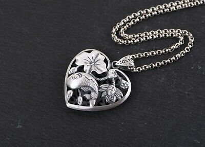 $ CDN42.94 • Buy 990 Sterling Silver Heart Shape Lotus Flower & Fish Pendant Charm Jewelry S4416