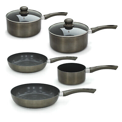 Non Stick Ceramic Pan Saucepan Frying Pewter Cookware Aluminium Induction Set • 39.99£