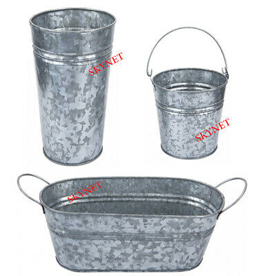 Premium Finish Galvanised Oval Planter Planters With Handles Florist Home Garden • 8.99£