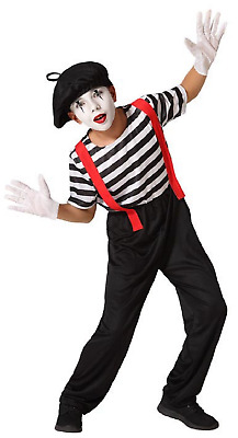 Boys French Mime Artist Street Performer Carnival Circus Fancy Dress Costume • 17.99£
